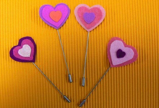 Broches de corazones para los enamorados manualidades - Broches para manualidades ...