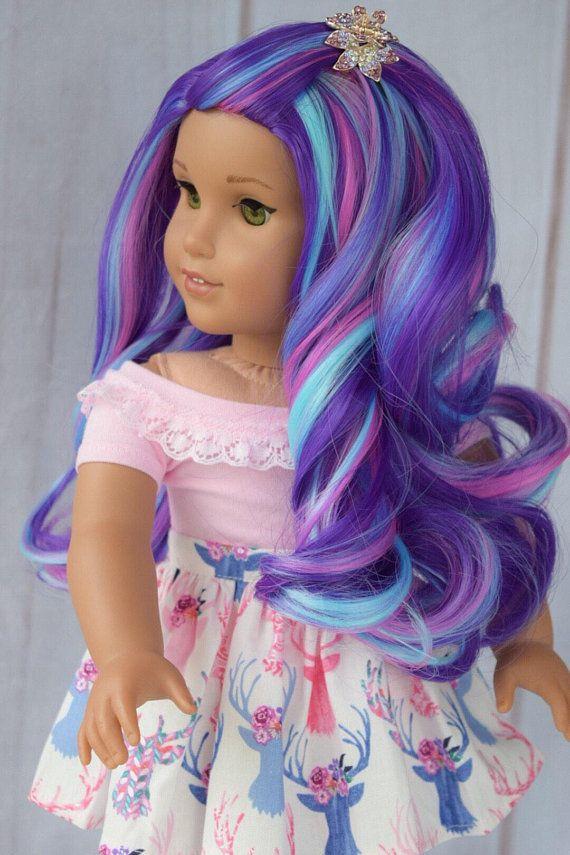 "10-11/"" Custom Doll Wig for 18/"" American Girl Doll Descendants Mal Rainbow"