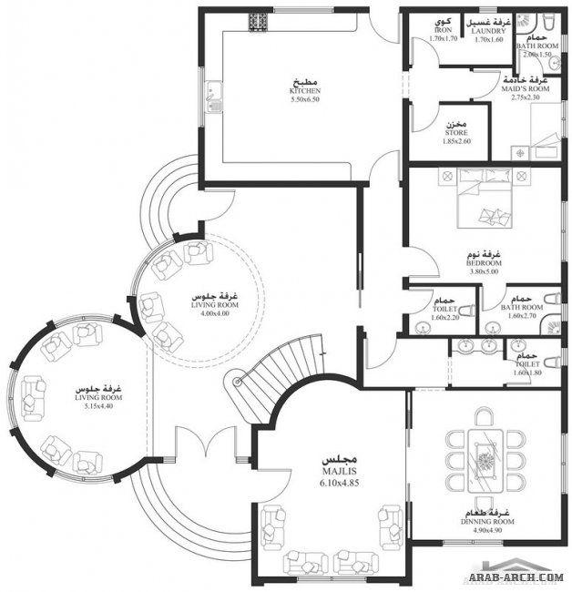 خرائط الفيلا 5 غرف 504 متر مربع طابقين سكن Square House Plans House Layout Plans House Map