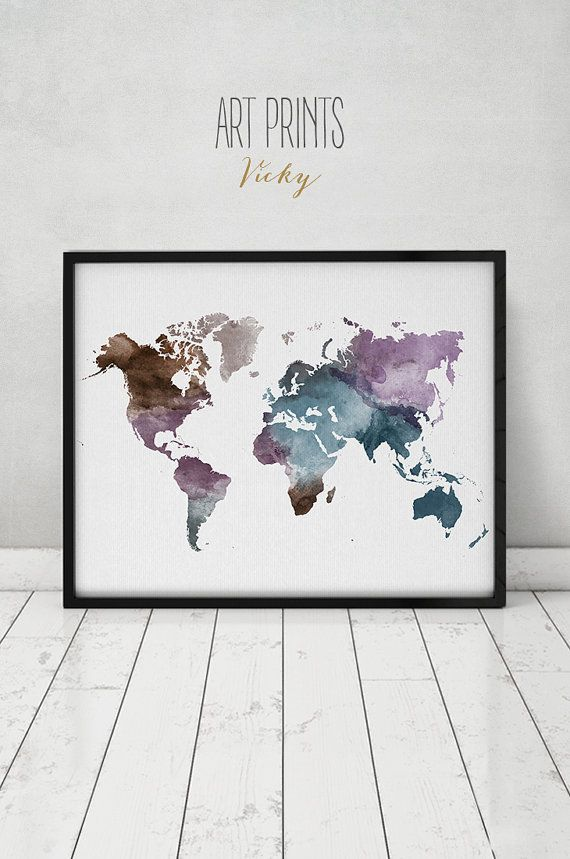 Travel map, Large World Map, watercolor world map, Wall art, world map poster, Map painting, watercolor print, Home decor, ART PRINTS VICKY.