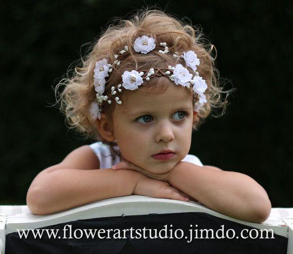 White Flower Girl Crown Girl Woodland Flower by Flowerartstudio