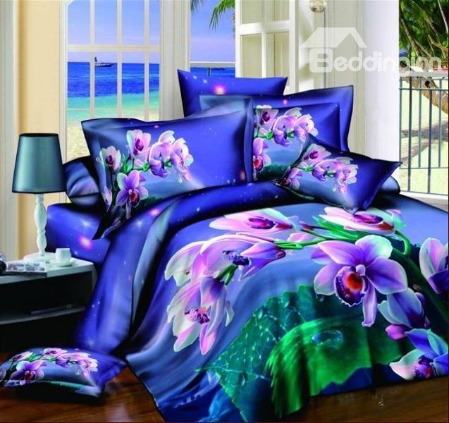 Splendid Beautiful Purple Flower Blue 4 Piece Duvet Cover Bedding Sets