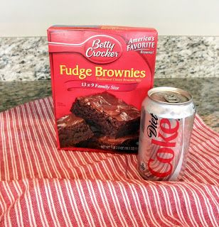 Diet Coke Brownies  ~  Brownies made with diet soda, no eggs, water or oil. Only 105 calories and 0.5g fat in each serving