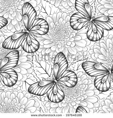 beautiful black and white seamless pattern with flowers and butterflies. Hand-drawn contour lines and strokes.  - stock photo