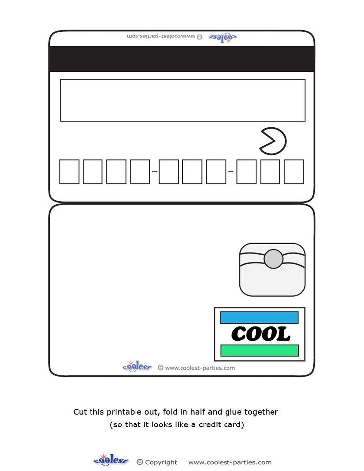 Blank printable cool credit card invitations for a mall