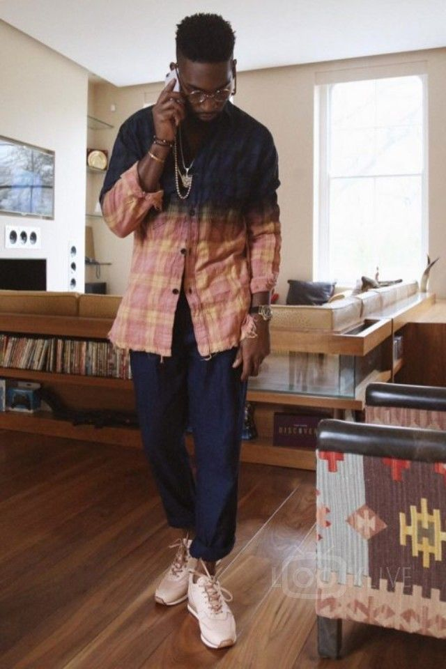 Tinie Tempah wearing  Hender Scheme MIP-08 Leather Trainers, Saint Laurent Checked Tie Dye Shirt