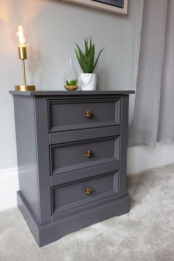 Sold Grey Painted Bedside Cabinet Solid Wood Bedside Table Unique Bedside Table Grey And Gold Bedside Cabinet Stylish Bedside In 2020 Solid Wood Bedside Tables Unique Bedside Tables Bedside Table Grey