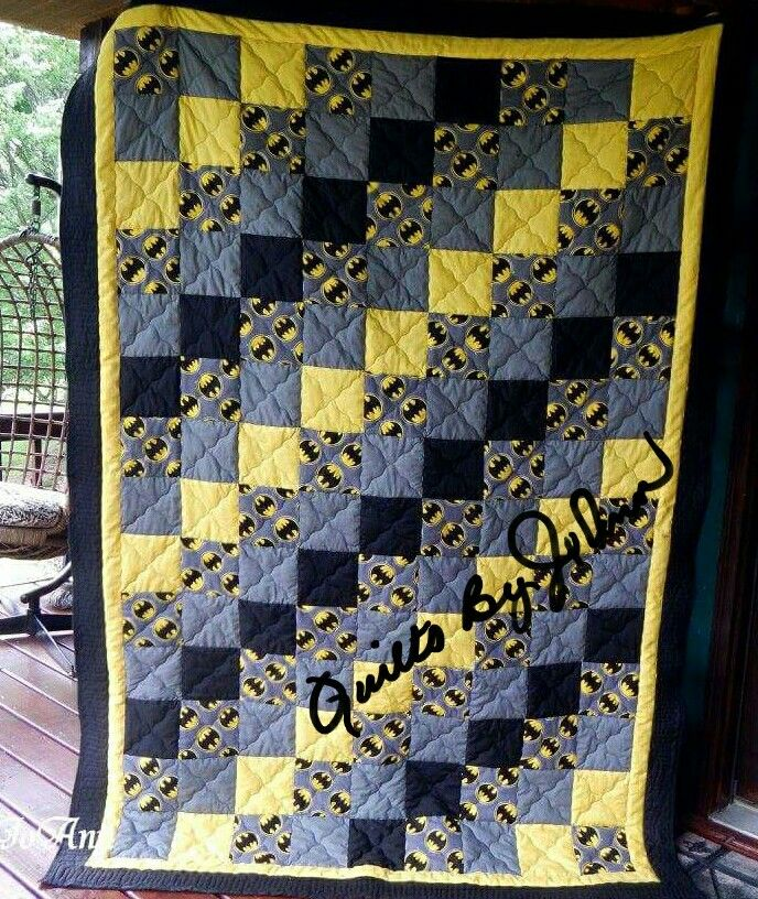 Batman Quilt in twin size. Made by JoAnn Daniels of Quilts by JoAnn  https://m.facebook.com/QuiltsByJoAnn/