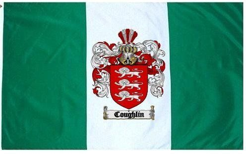 $49.99 Coughlin Family Crest / Coat of Arms Flag. Large 3 ft. x 5 ft. polyester flags.