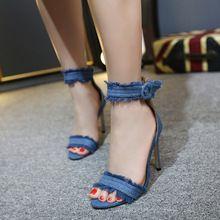 Femmes Chaussures D'été Gladiateur À Talons Hauts Sandales 2017 Marque De Mode Denim Boucle Sangle Sandlias Bleu noir Sexy Dames Chaussures YD499(China (Mainland))