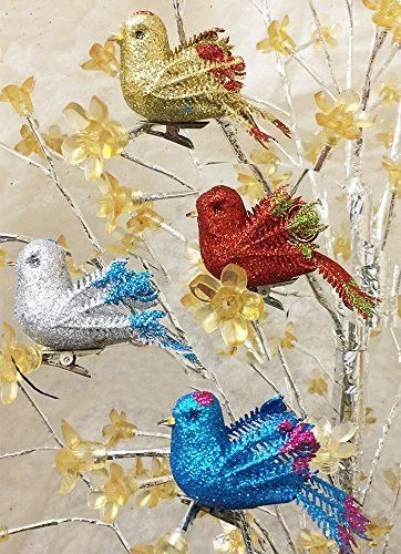 Christmas Bird Ornaments - Set of 12 Clip-On Birds - Package Includes 3 Red, 3 Blue, 3 Gold and 3 Silver - Artificial Birds