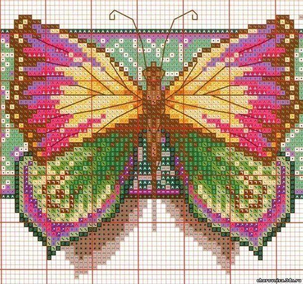 Вышивка своими руками. Красивые бабочки.