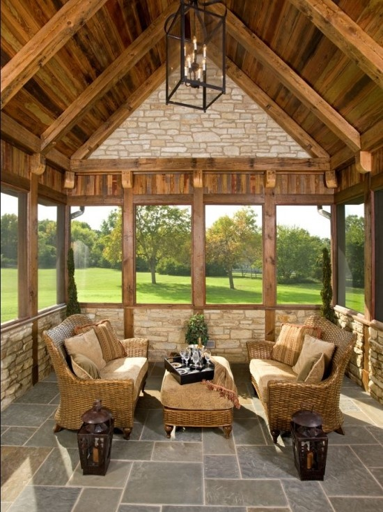 Log cabin porch design pictures remodel decor and ideas Screened in porch decor
