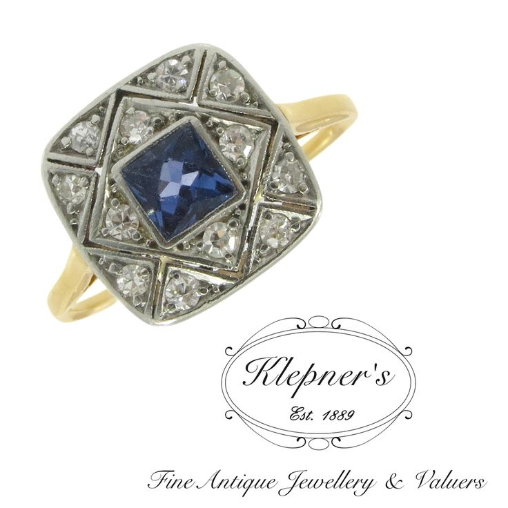 Platinum & 18ct yellow gold vintage geometric plaque ring, centrally rub set with a 0.50ct square cut ceylon type sapphire, surrounded by twelve grain set diamonds G in colour, SI in clarity. Visit us at www.klepners.com.au