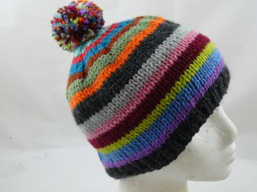Striped scarf and hat bobble hat multicoloured scarf free knitting patt...