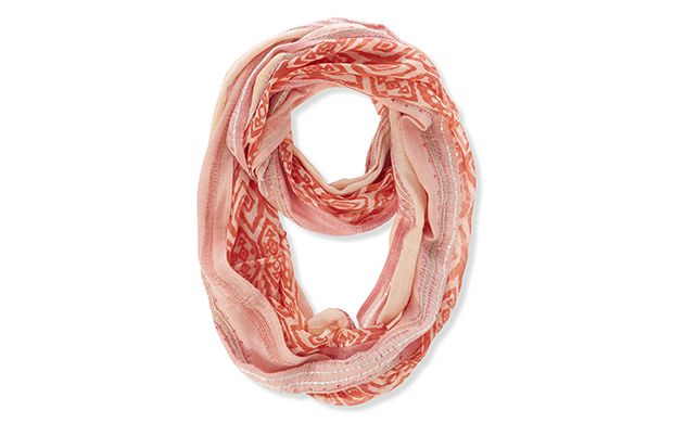 "Coral Tribal Snood. ""The tribal trend is still going strong and this coral scarf is an easy way to wear the look."""