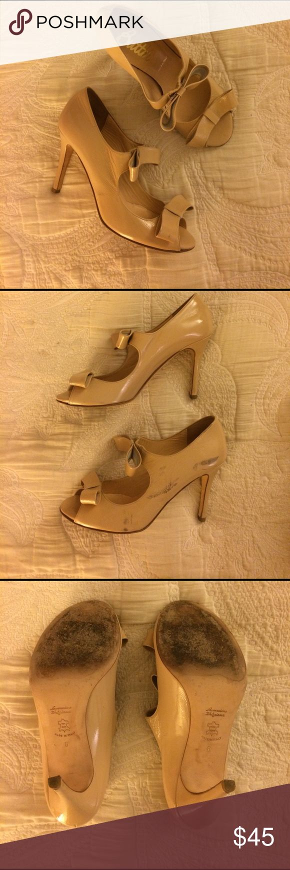 Selling this Butter Nude Bow Heels Size 8 Made in Italy on Poshmark! My username is: amyseidner. #shopmycloset #poshmark #fashion #shopping #style #forsale #Butter Shoes #Shoes