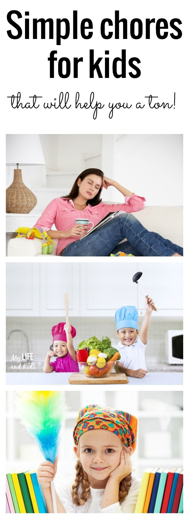 Five simple chores for kids that will actually help you a ton! I love the shower tip.