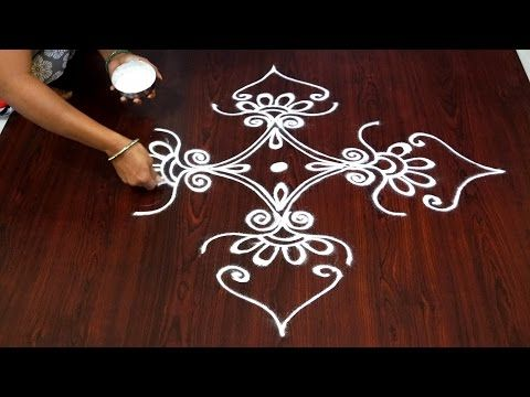big rangoli designs without dots || daily rangoli designs without dots || easy kolam without dots - YouTube