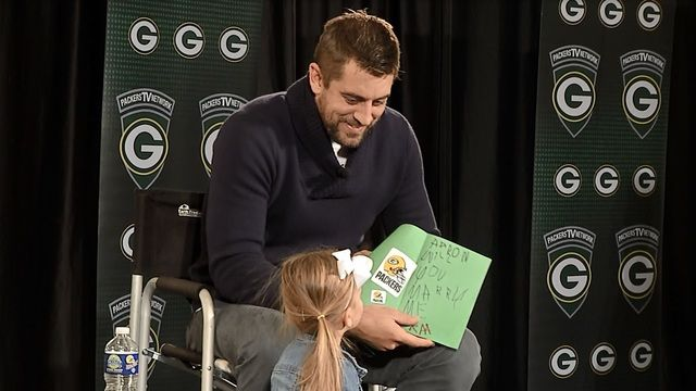 "Little Kenley popped ""the question"" to Aaron during ""Packers Live."""