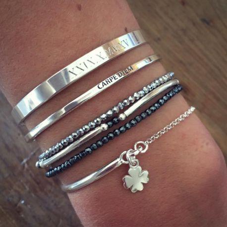 Composition de bracelets hématites et joncs en argent 925 - L'Atelier d'Amaya