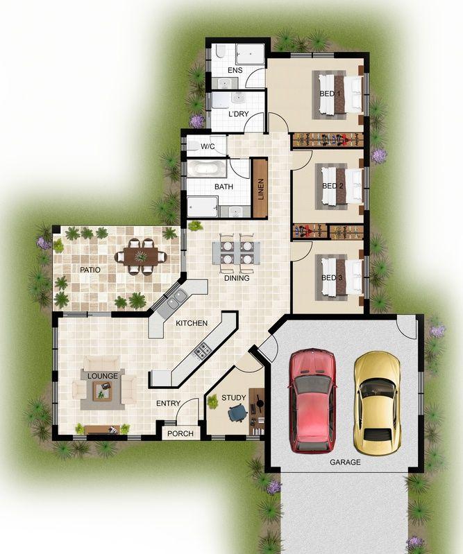 2d colour floor plan for a home building company for Casas en 2d
