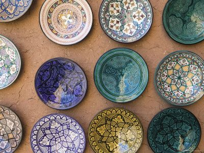 Oh, how I would love to break a few of these!! Moroccan Plates, Ensemble Artisanat, Ouarzazate, South of the High Atlas, Morocco