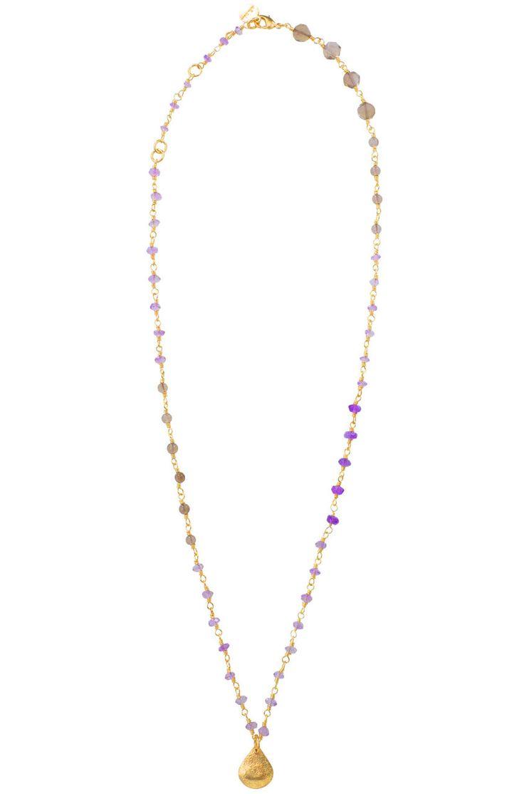 Smokey Quartz & Amethyst Teardrop Necklace   Purple Folie Necklace   Stella & Dot