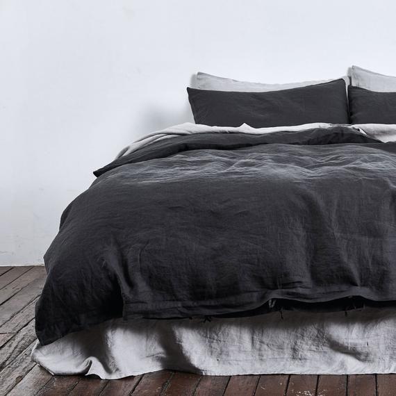 Black Linen Bedding Set 1 Duvet Cover 2 Pillowcases In Black Color Softened Linen Bedding Comforter Cover Hidden Buttons Linen Duvet Covers Linen Duvet Cover King Linen Duvet