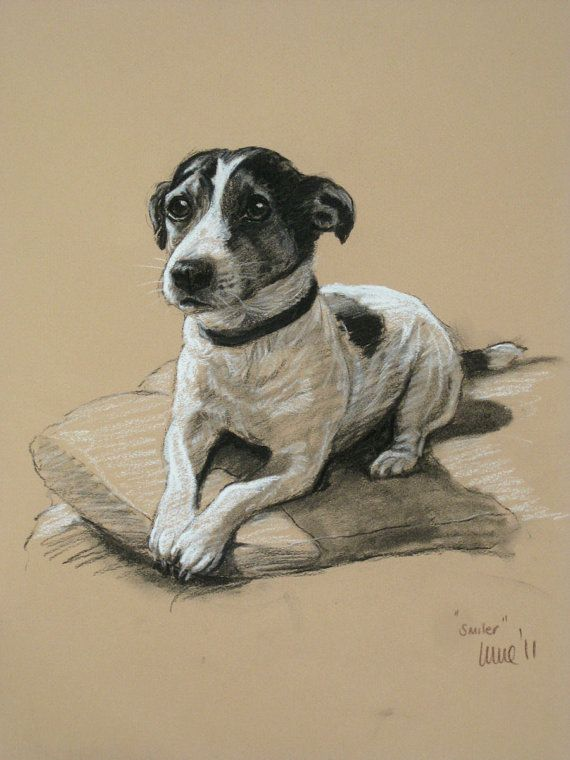Jack Russell Terrier cute dog LE fine art print 'Smiler' from an original chalk and charcoal sketch