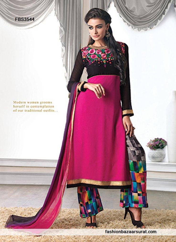 Magenta And Black Modish Designer Salwar Suit