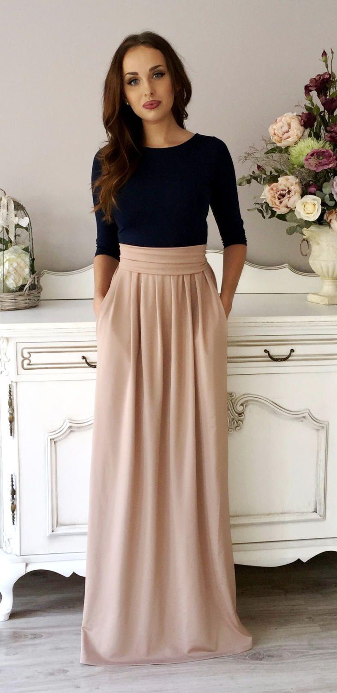 Navy Blue Cappuccino Maxi Women's Dress 3/4 Sleeves