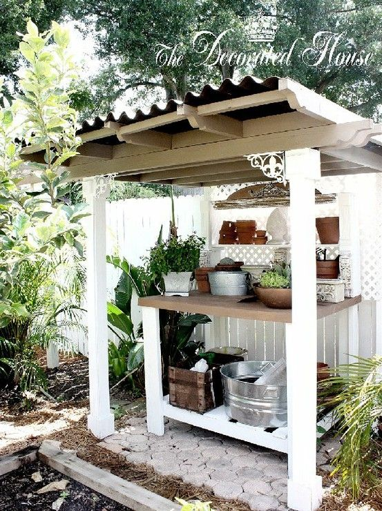 for outside the potting shed, insert sink into bench