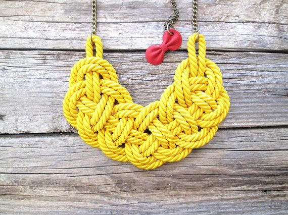 Yellow rope necklace Rope knot necklace by NasuKka on Etsy, $34.00