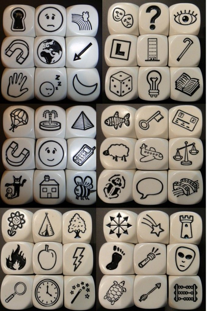 Story cubes We make great stories with these. Everyone in the whole family can play too.