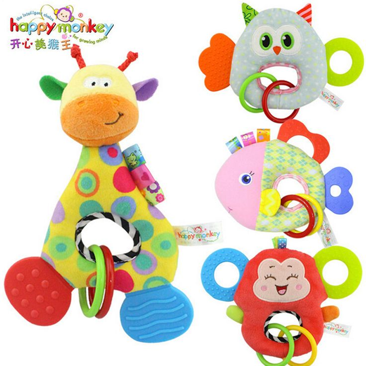 0-3 yベビーガラガラハンドベル玩具フクロウ魚キリン猿動物ぬいぐるみ赤ちゃんのガラガラ幸せな猿ギフトクレードル幼児おもちゃ