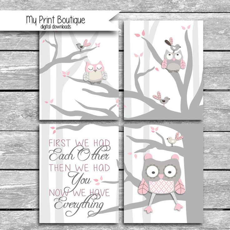 PINK Set Of 4 8x10 Digital Downloads Coordinates With Levtex Baby Night Owl Crib Bedding - First We Had Each Other Then We Had You Quote by MyPrintBoutique on Etsy