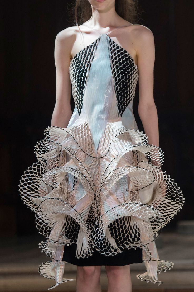 Sculptural Fashion - 3D dress with intricate symmetry; wearable art; innovative…