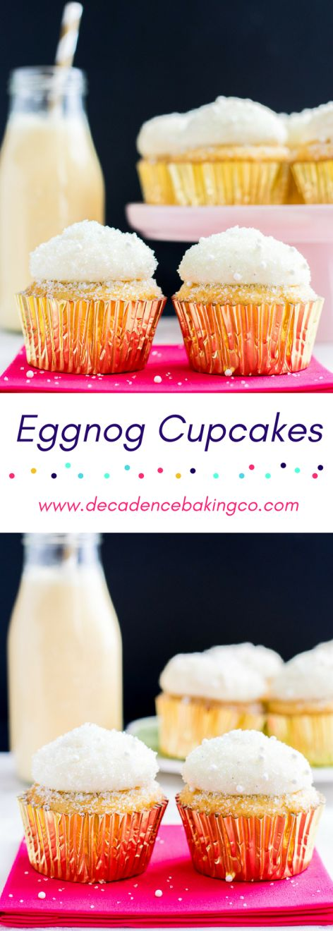Eggnog Cupcakes: An eggnog cupcake topped with an eggnog cream cheese frosting. The eggnog flavor is enhanced with rum extract and nutmeg.