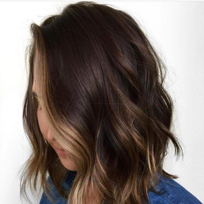 55 Partial Blonde Streaks On Dark Brown Hair Dark Hair With Highlights Hair Streaks Highlights For Dark Brown Hair