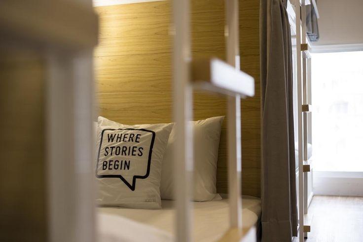 Bed One Block Hostel Design - beds. This slimlined hostel design in Bangkok, Thailand is genius!