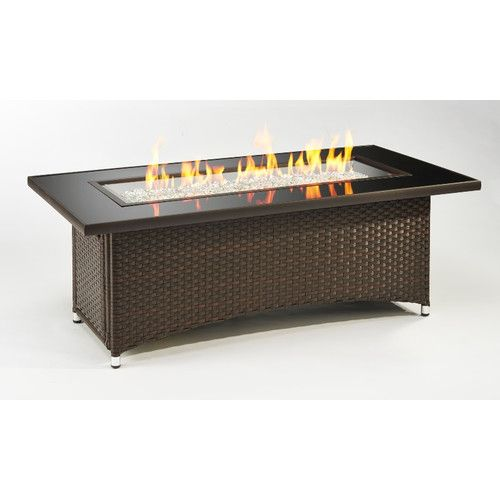 The Outdoor GreatRoom Company Montego Crystal Fire Pit Coffee Table with Wicker Base & Reviews | Wayfair