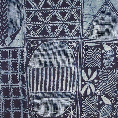ADIRE CLOTH Casava paste resist indigo-dyed cotton woman's wrapper Nigeria c.1950 source:joss graham