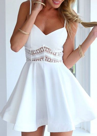 Free shipping Fashion New Solid Pierced Hollow Back Flare Dress - White