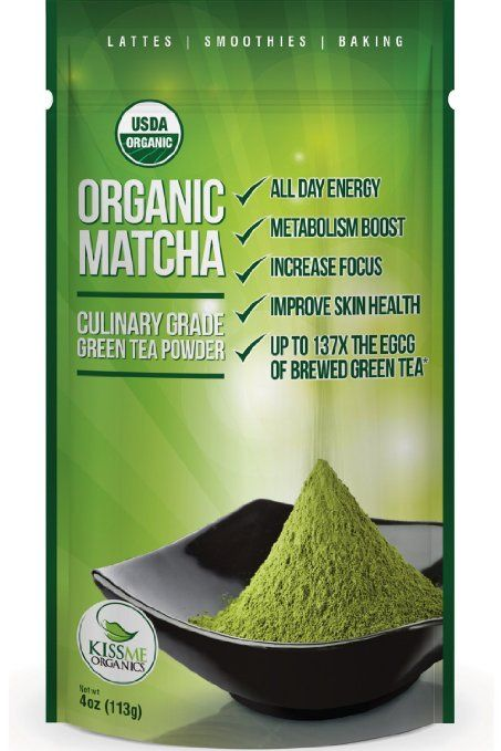 Matcha Green Tea Powder - ORGANIC - All Day Energy - Green Tea Lattes ...