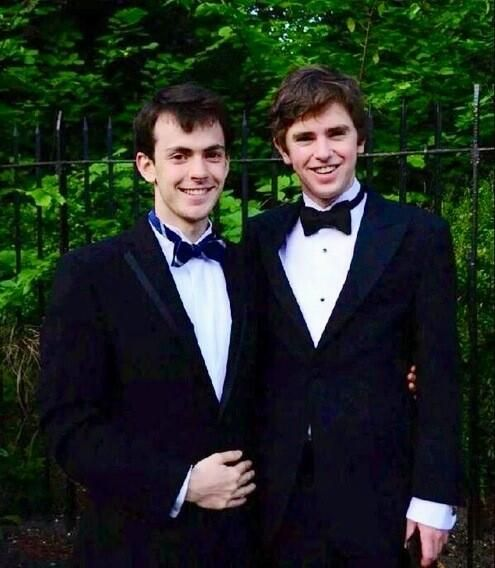 Skandar Keynes and Freddie Highmore 2014