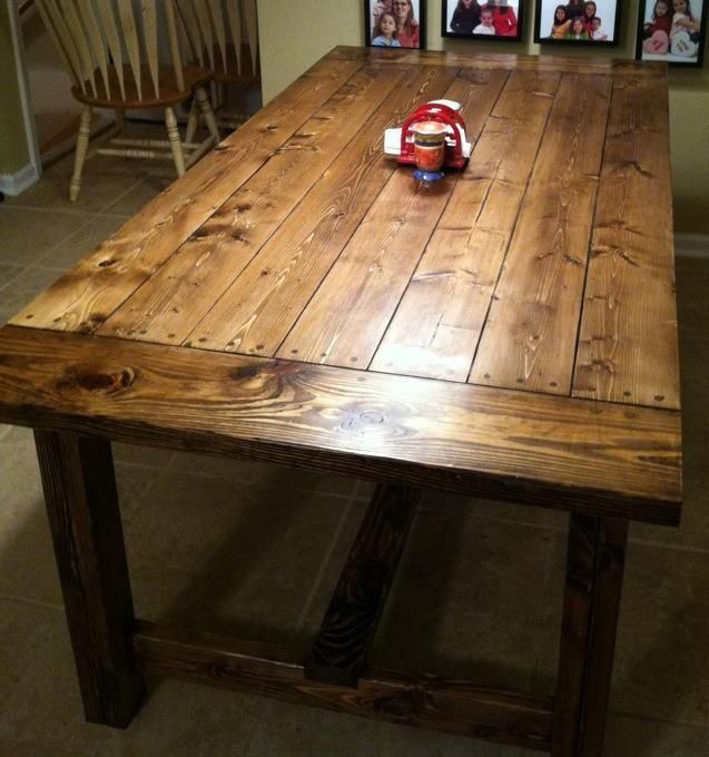 Diy farmhouse table 90 woodworking projects for Farm style kitchen table