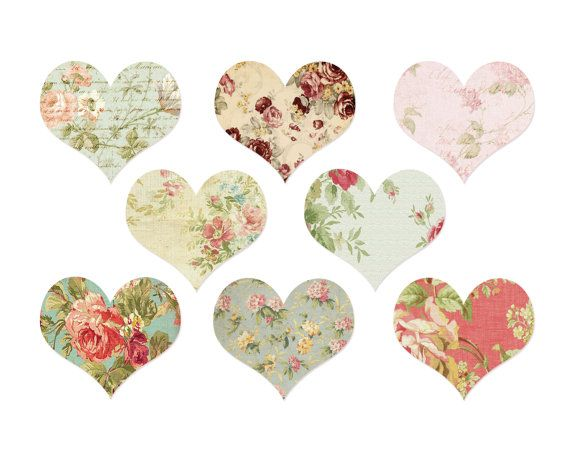 INSTANT DOWNLOAD // Valentine Heart Clipart by VintagePaperPegasus, #hearts #valentines #clipart #digital #graphics #vintage #floral