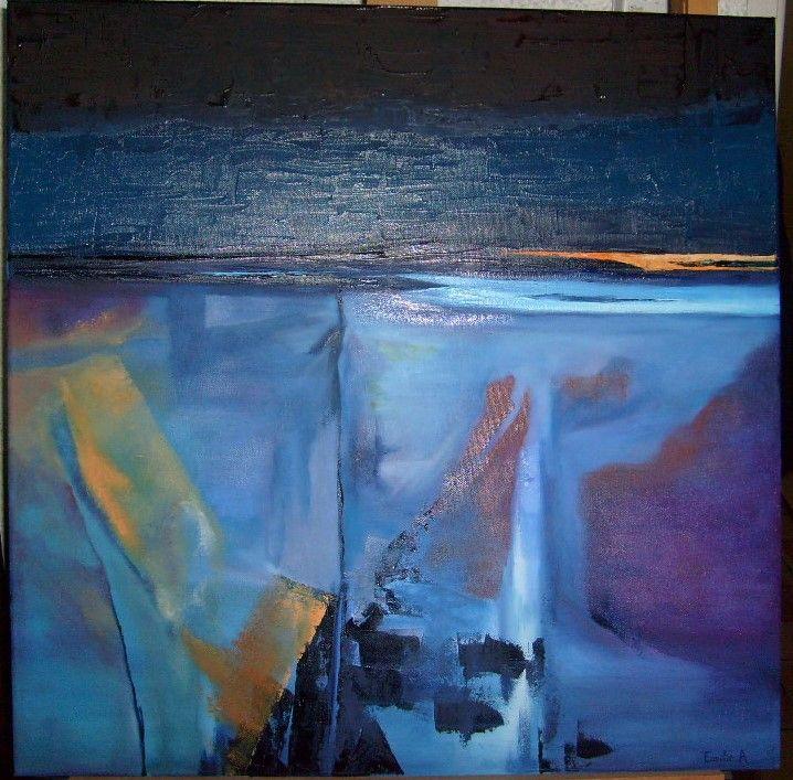 paysage abstrait peinture à l'huile pinceau et couteau