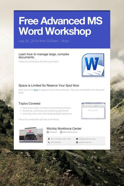 7 best Free Workshops  Seminars images on Pinterest Atelier